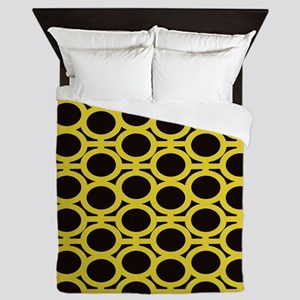 Black and Yellow Eyelets Queen Duvet