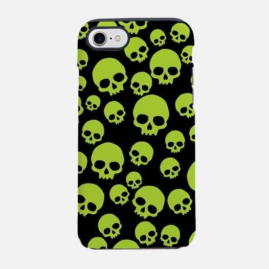 Random Green Skull Pattern iPhone 7 Tough Case