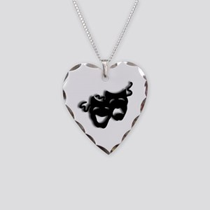 Comedy and Tragedy Theater Ma Necklace Heart Charm