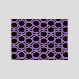 Black and Lavender Eyelets 5'x7'Area Rug