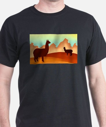 2 alpacas wide.png T-Shirt