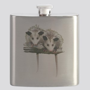 Baby Possums on a Branch Flask