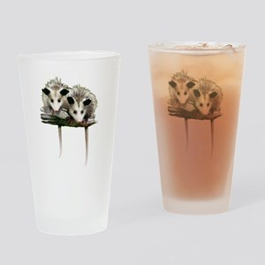 Baby Possums on a Branch Drinking Glass
