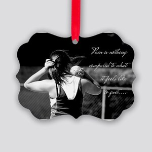 Girl Shotput thrower Picture Ornament