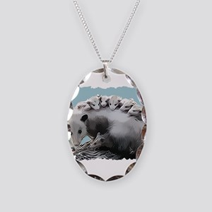 Possum Family on a Log Necklace Oval Charm