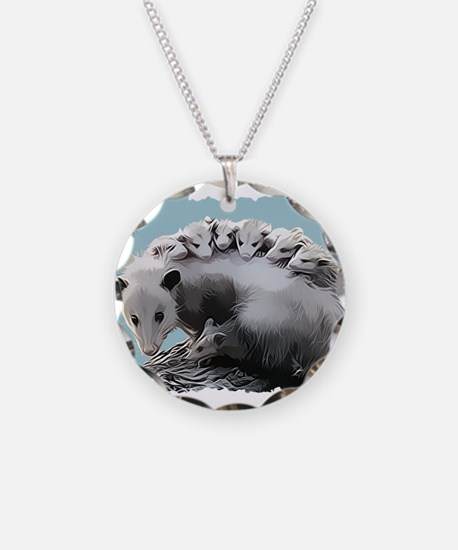 Possum Family on a Log Necklace Circle Charm