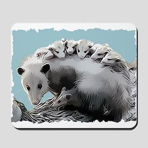 Possum Family on a Log Mousepad