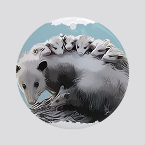 Possum Family on a Log Ornament (Round)