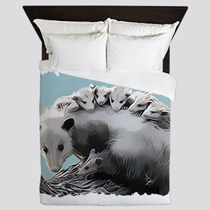 Possum Family on a Log Queen Duvet