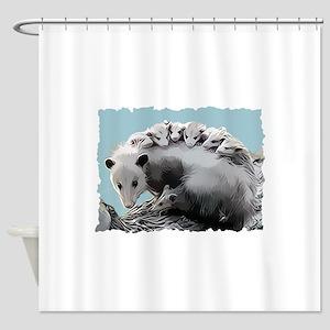 Possum Family on a Log Shower Curtain
