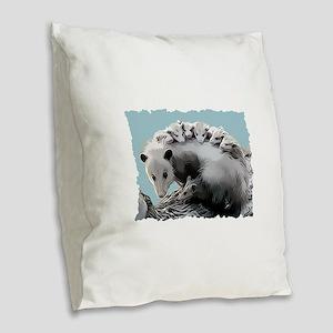Possum Family on a Log Burlap Throw Pillow