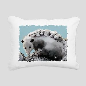 Possum Family on a Log Rectangular Canvas Pillow