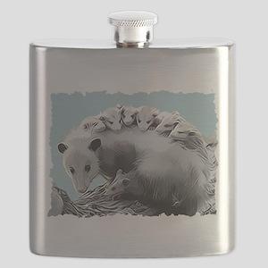 Possum Family on a Log Flask