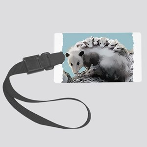 Possum Family on a Log Large Luggage Tag