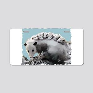 Possum Family on a Log Aluminum License Plate