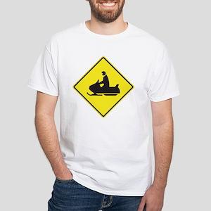 Snowmobile Crossing White T-Shirt