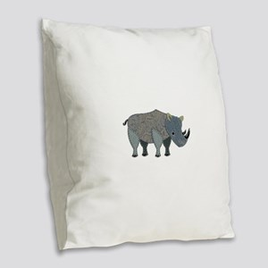 Appliqued Rhinoceros Burlap Throw Pillow