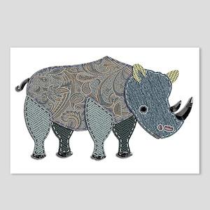 Appliqued Rhinoceros Postcards (Package of 8)