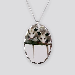Baby Possums on a Branch Necklace Oval Charm