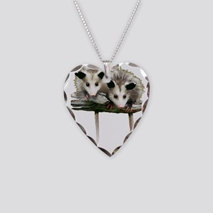 Baby Possums on a Branch Necklace Heart Charm