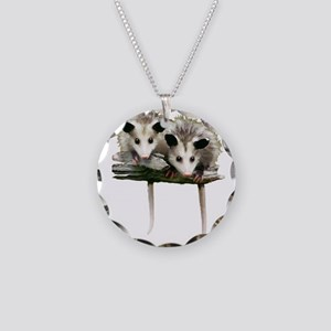 Baby Possums on a Branch Necklace Circle Charm