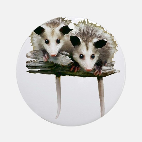 Baby Possums on a Branch Ornament (Round)