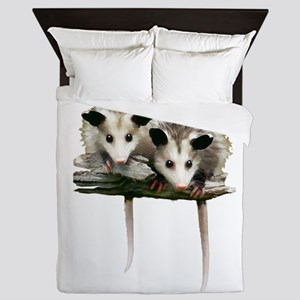 Baby Possums on a Branch Queen Duvet