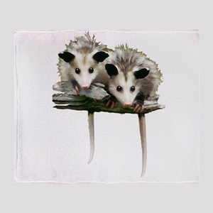 Baby Possums on a Branch Throw Blanket