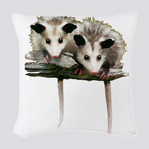 Baby Possums on a Branch Woven Throw Pillow