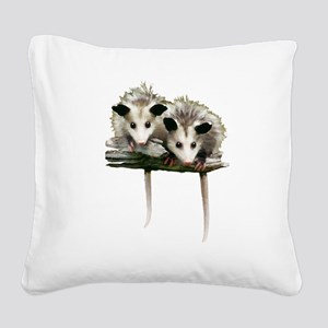 Baby Possums on a Branch Square Canvas Pillow
