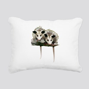 Baby Possums on a Branch Rectangular Canvas Pillow