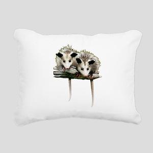 Baby Possums on a Branch Rectangular Canvas Pillow