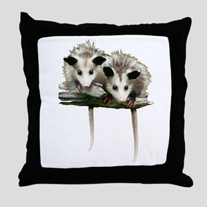 Baby Possums on a Branch Throw Pillow