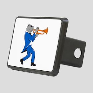 Bulldog Blowing Trumpet Side View Cartoon Hitch Co