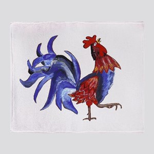 red and blue rooster Throw Blanket