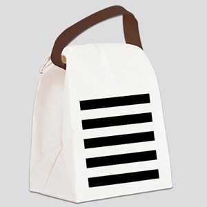 Black & White Stripes Canvas Lunch Bag