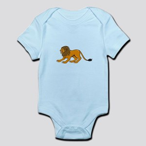 Angry Lion Crouching Side Cartoon Body Suit