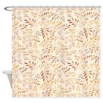 Cute Brown Floral Pattern Design Shower Curtain