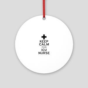 Keep Calm ICU Nurse Ornament (Round)