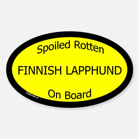 Spoiled Finnish Lapphund On Board Oval Decal