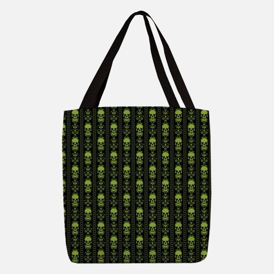 Baroque Skull Stripe Pattern Green Polyester Tote