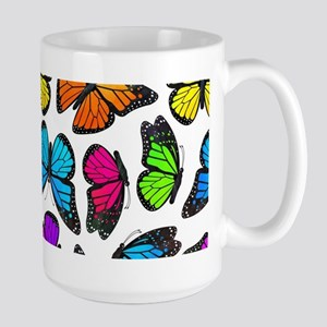 Rainbow Monarch Butterfly Pattern Large Mug