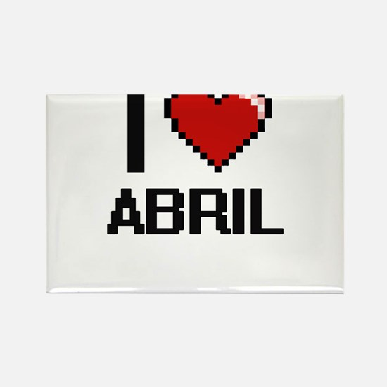 I Love Abril Digital Retro Design Magnets