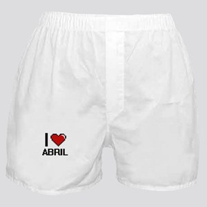 I Love Abril Digital Retro Design Boxer Shorts