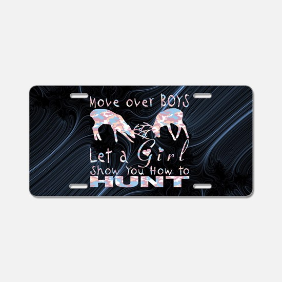 GIRL DEER HUNTER Aluminum License Plate