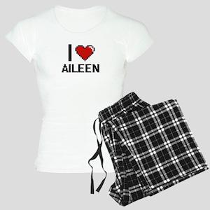 I Love Aileen Digital Retro Women's Light Pajamas