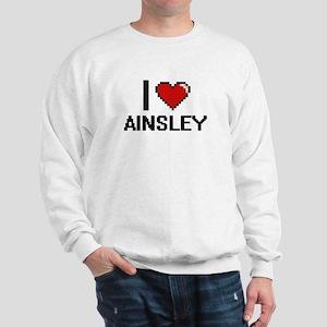 I Love Ainsley Digital Retro Design Sweatshirt