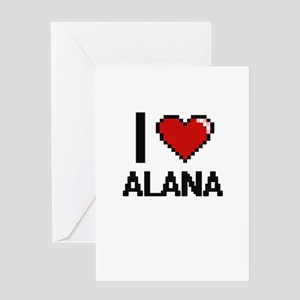 I Love Alana Digital Retro Design Greeting Cards