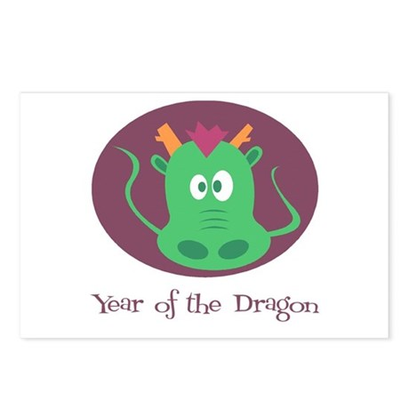 Cartoon Year of the Dragon Postcards (Package of 8