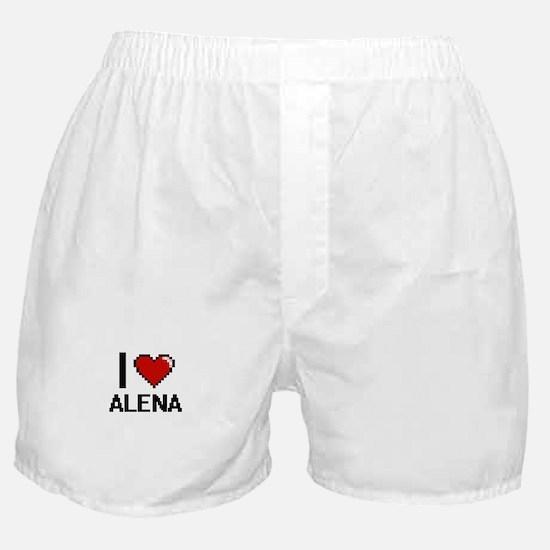 I Love Alena Digital Retro Design Boxer Shorts